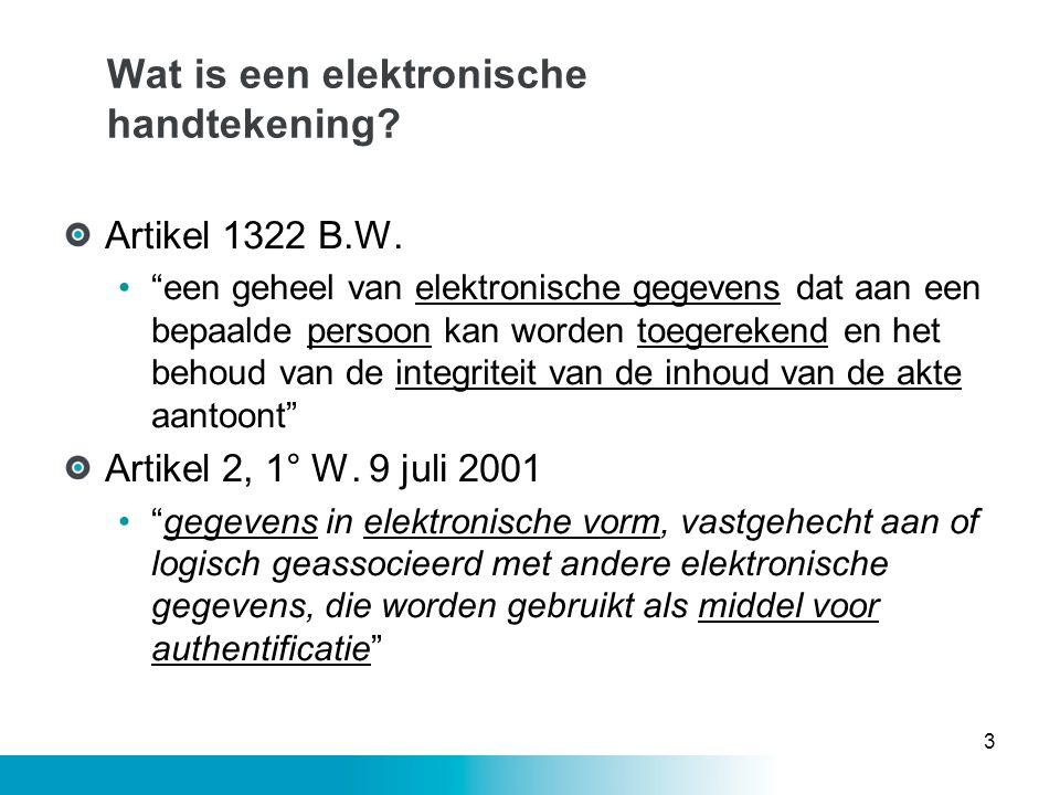 """Wat is een elektronische handtekening? Artikel 1322 B.W. •""""een geheel van elektronische gegevens dat aan een bepaalde persoon kan worden toegerekend e"""