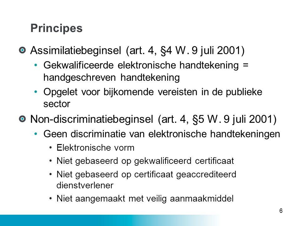 Principes Assimilatiebeginsel (art. 4, §4 W. 9 juli 2001) •Gekwalificeerde elektronische handtekening = handgeschreven handtekening •Opgelet voor bijk