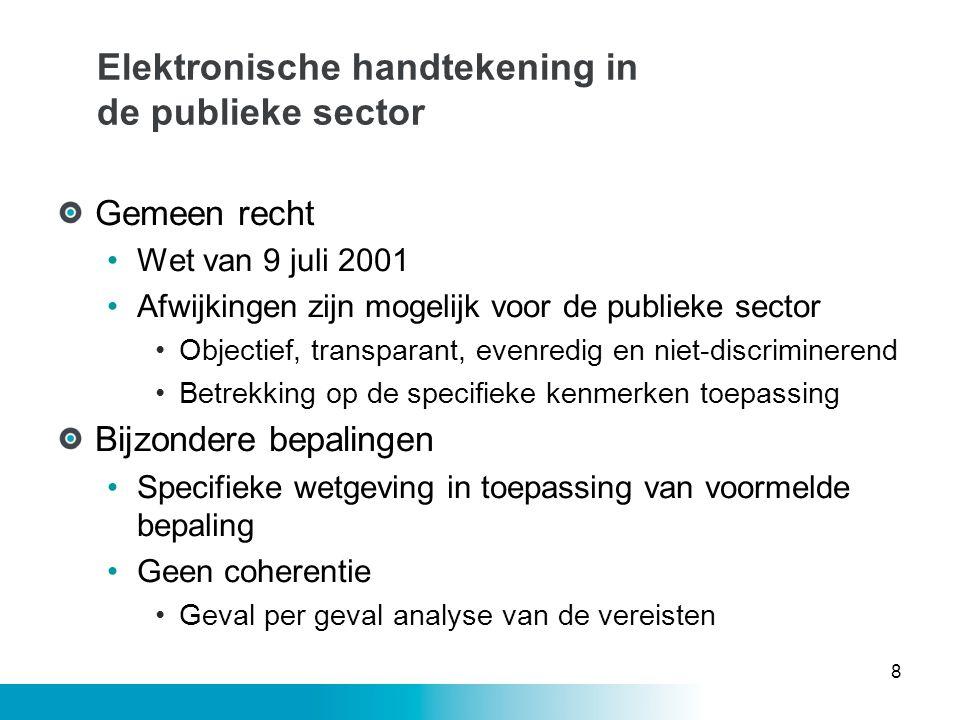 Elektronische handtekening in de publieke sector Gemeen recht •Wet van 9 juli 2001 •Afwijkingen zijn mogelijk voor de publieke sector •Objectief, tran