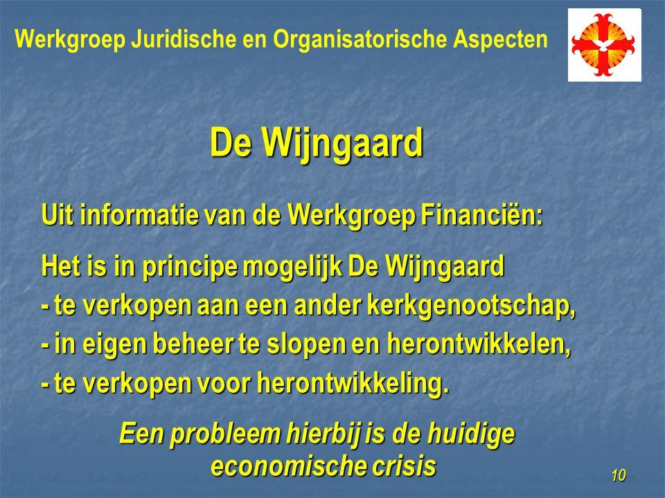 De Wijngaard Uit informatie van de Werkgroep Financiën: Het is in principe mogelijk De Wijngaard -te verkopen aan een ander kerkgenootschap, -in eigen beheer te slopen en herontwikkelen, -te verkopen voor herontwikkeling.