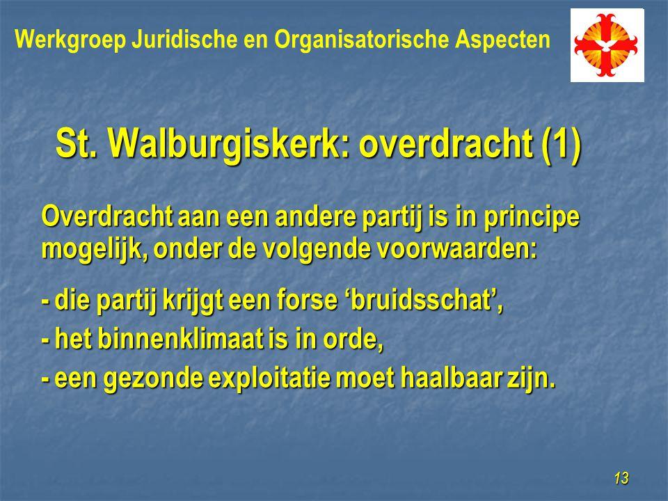 St. Walburgiskerk: overdracht (1) Overdracht aan een andere partij is in principe mogelijk, onder de volgende voorwaarden: -die partij krijgt een fors