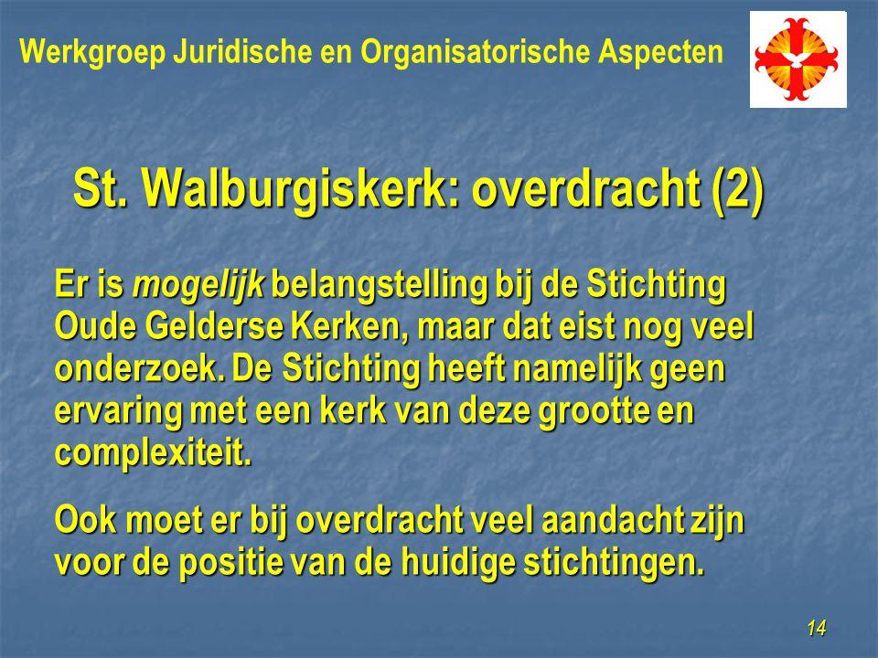 St. Walburgiskerk: overdracht (2) Er is mogelijk belangstelling bij de Stichting Oude Gelderse Kerken, maar dat eist nog veel onderzoek. De Stichting