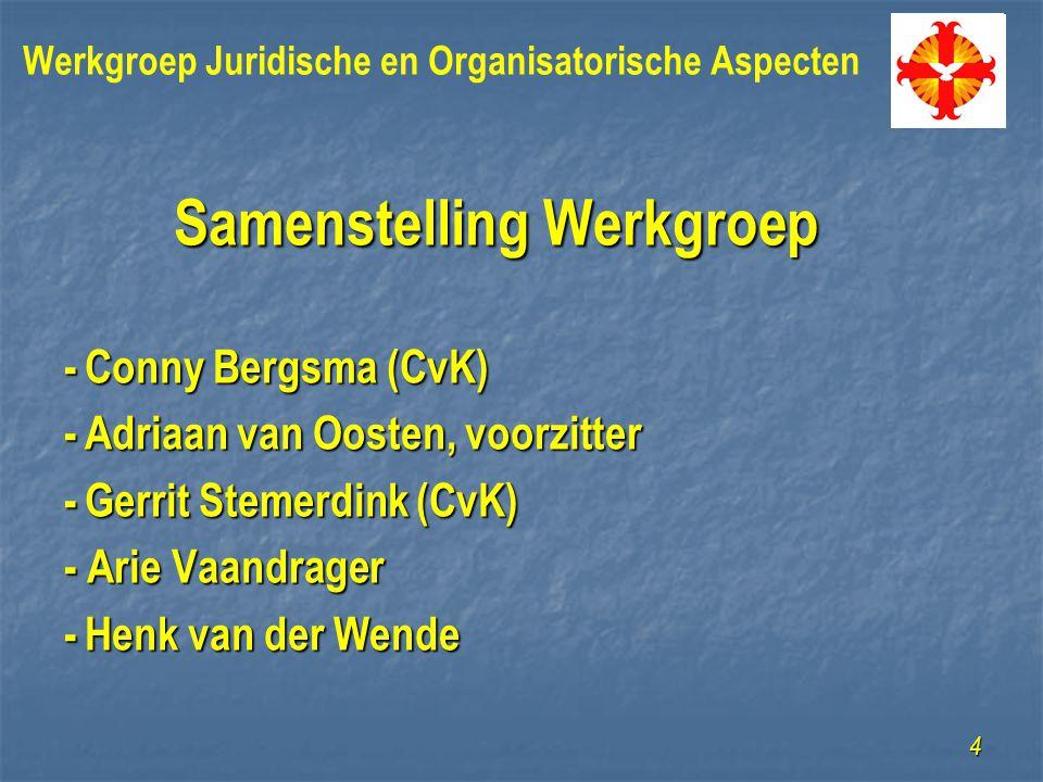 Samenstelling Werkgroep -Conny Bergsma (CvK) -Adriaan van Oosten, voorzitter -Gerrit Stemerdink (CvK) - Arie Vaandrager -Henk van der Wende 4