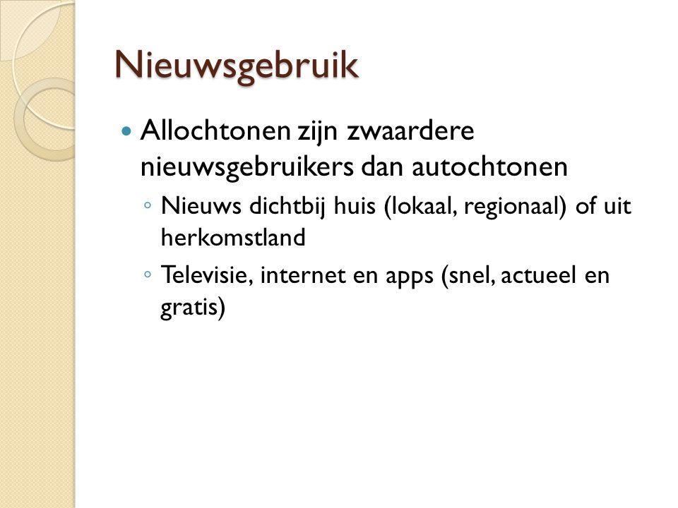 Nieuwsgebruik  Allochtonen zijn zwaardere nieuwsgebruikers dan autochtonen ◦ Nieuws dichtbij huis (lokaal, regionaal) of uit herkomstland ◦ Televisie, internet en apps (snel, actueel en gratis)