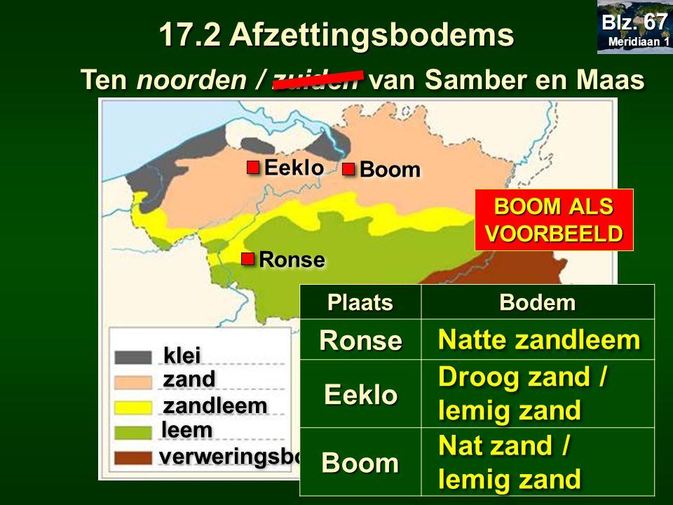 Ten noorden / zuiden van Samber en Maas klei zand zandleem leem verweringsbodem PlaatsBodemRonse Eeklo Boom Droog zand / lemig zand Natte zandleem 17.