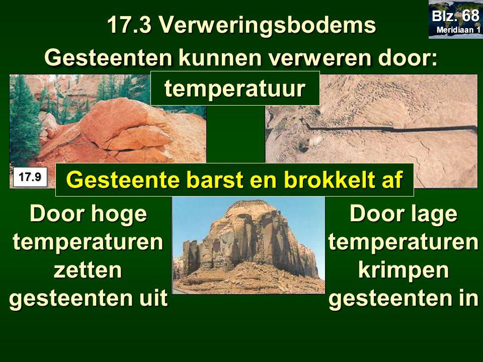 17.3 Verweringsbodems Gesteentenverweren Gesteenten kunnen verweren door: Door hoge temperaturen zetten gesteenten uit Door lage temperaturen krimpen