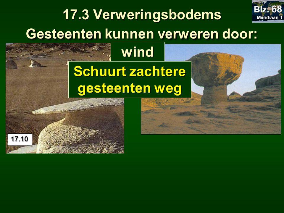 17.3 Verweringsbodems Gesteentenverweren Gesteenten kunnen verweren door: 17.1017.10 wind Meridiaan 1 Meridiaan 1 Blz. 68 Schuurt zachtere gesteenten