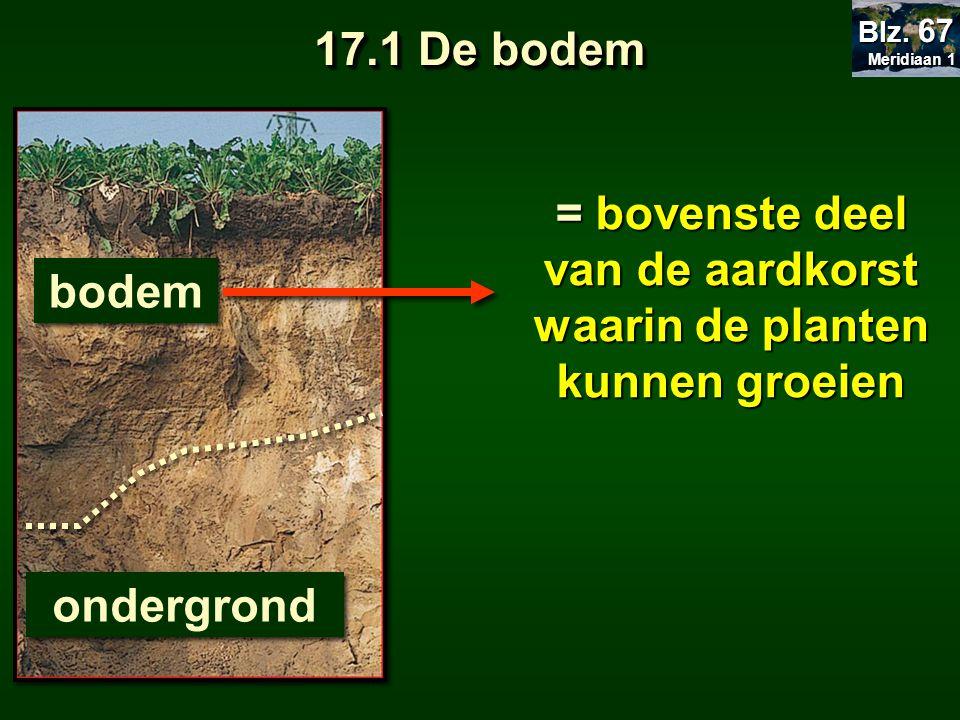 17.1 De bodem = bovenste deel van de aardkorst waarin de planten kunnen groeien bodem ondergrond Meridiaan 1 Meridiaan 1 Blz. 67