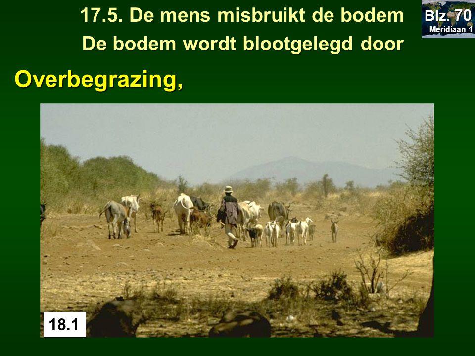 18.1 De bodem wordt blootgelegd door 17.5. De mens misbruikt de bodem Meridiaan 1 Meridiaan 1 Blz. 70 Overbegrazing,