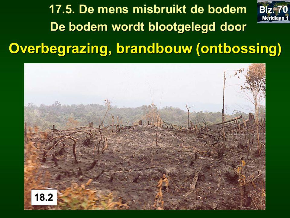 18.1 Overbegrazing, De bodem wordt blootgelegd door 17.5. De mens misbruikt de bodem Meridiaan 1 Meridiaan 1 Blz. 70 18.2 brandbouw (ontbossing)