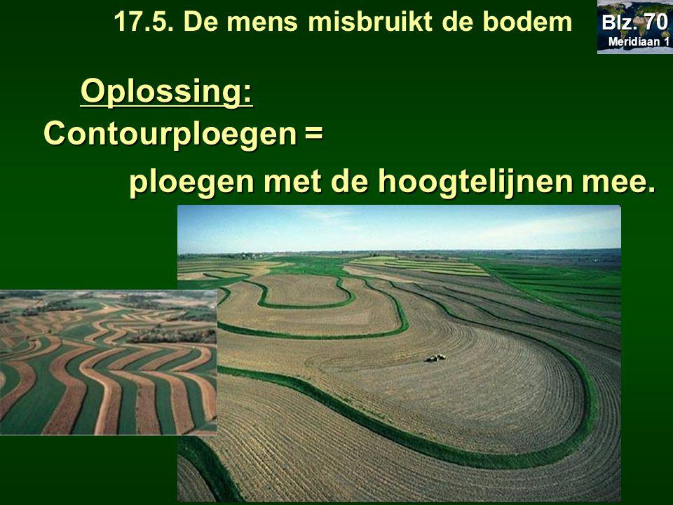 Oplossing: Contourploegen = ploegen met de hoogtelijnen mee. 17.5. De mens misbruikt de bodem Meridiaan 1 Meridiaan 1 Blz. 70