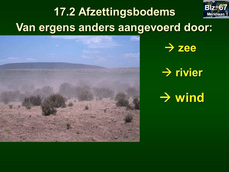 17.2 Afzettingsbodems Van ergens anders aangevoerd door:  zee  rivier  wind Meridiaan 1 Meridiaan 1 Blz. 67