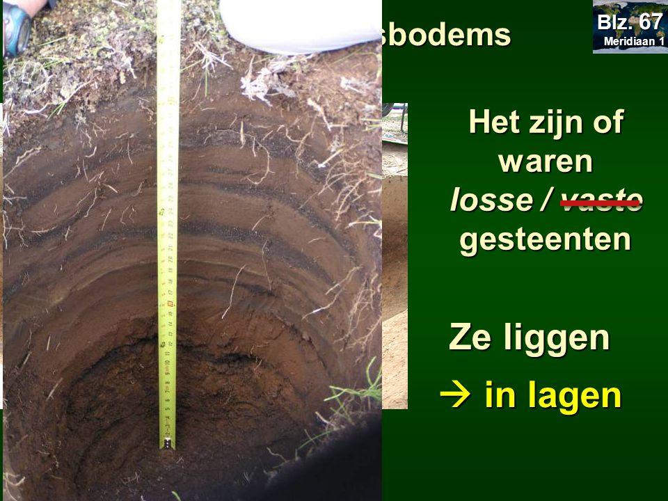 17.2 Afzettingsbodems Het zijn of waren losse / vaste gesteenten Ze liggen  in lagen Meridiaan 1 Meridiaan 1 Blz. 67