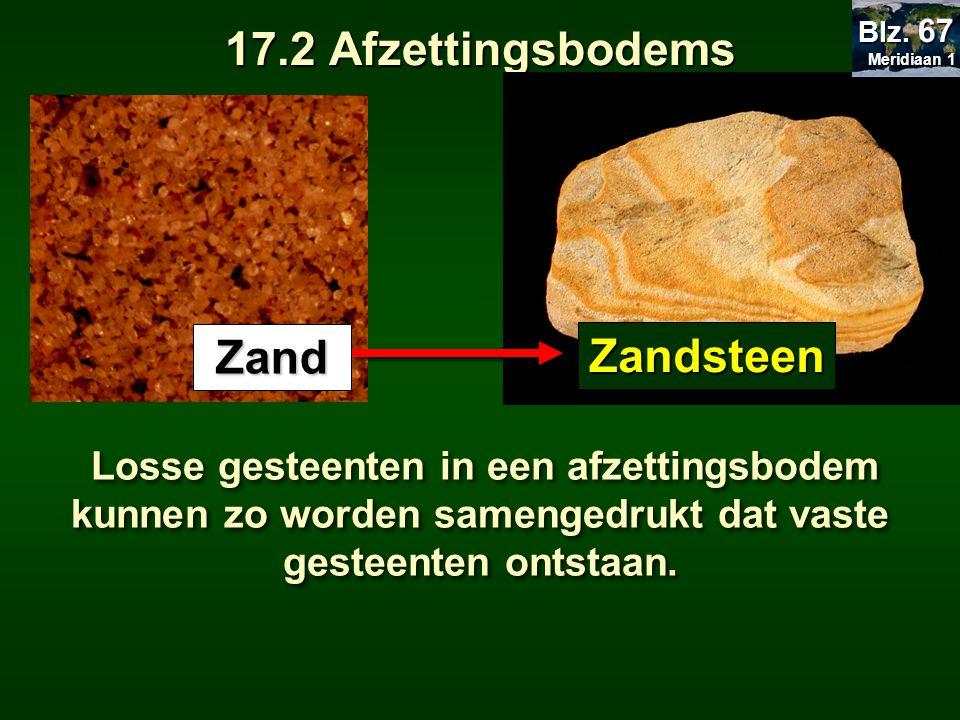 17.2 Afzettingsbodems Losse gesteenten in een afzettingsbodem kunnen zo worden samengedrukt dat vaste gesteenten ontstaan. Zand Zandsteen Meridiaan 1
