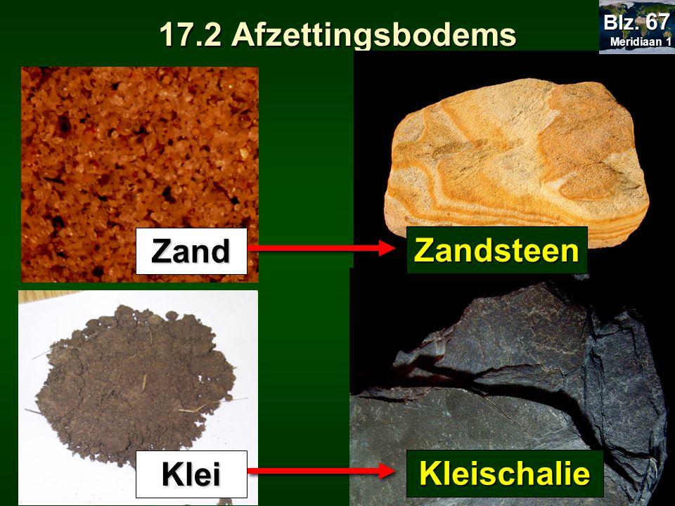 17.2 Afzettingsbodems Zand Zandsteen Klei Kleischalie Meridiaan 1 Meridiaan 1 Blz. 67
