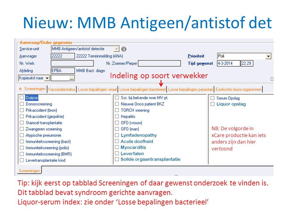 Nieuw: MMB Antigeen/antistof det Lymfadenopathy Acute doofheid Myocarditis Leverfalen Solide orgaantransplantatie Liquor opslag Tip: kijk eerst op tab