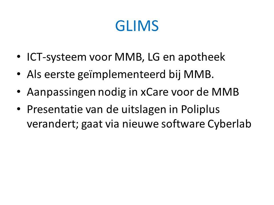 GLIMS • ICT-systeem voor MMB, LG en apotheek • Als eerste geïmplementeerd bij MMB. • Aanpassingen nodig in xCare voor de MMB • Presentatie van de uits