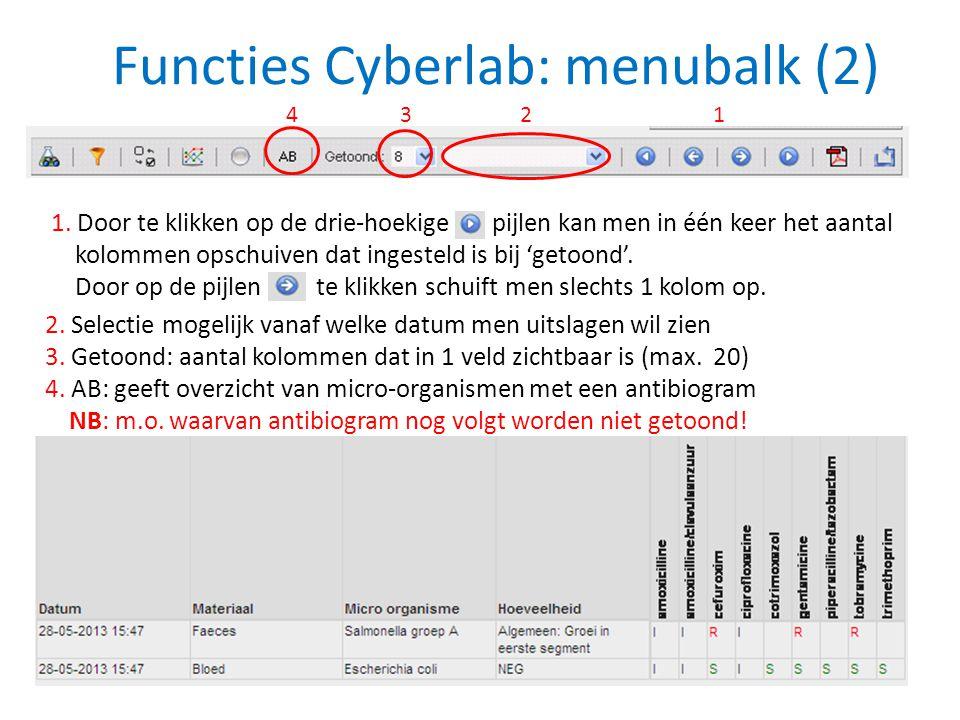 Functies Cyberlab: menubalk (2) 2. Selectie mogelijk vanaf welke datum men uitslagen wil zien 3. Getoond: aantal kolommen dat in 1 veld zichtbaar is (