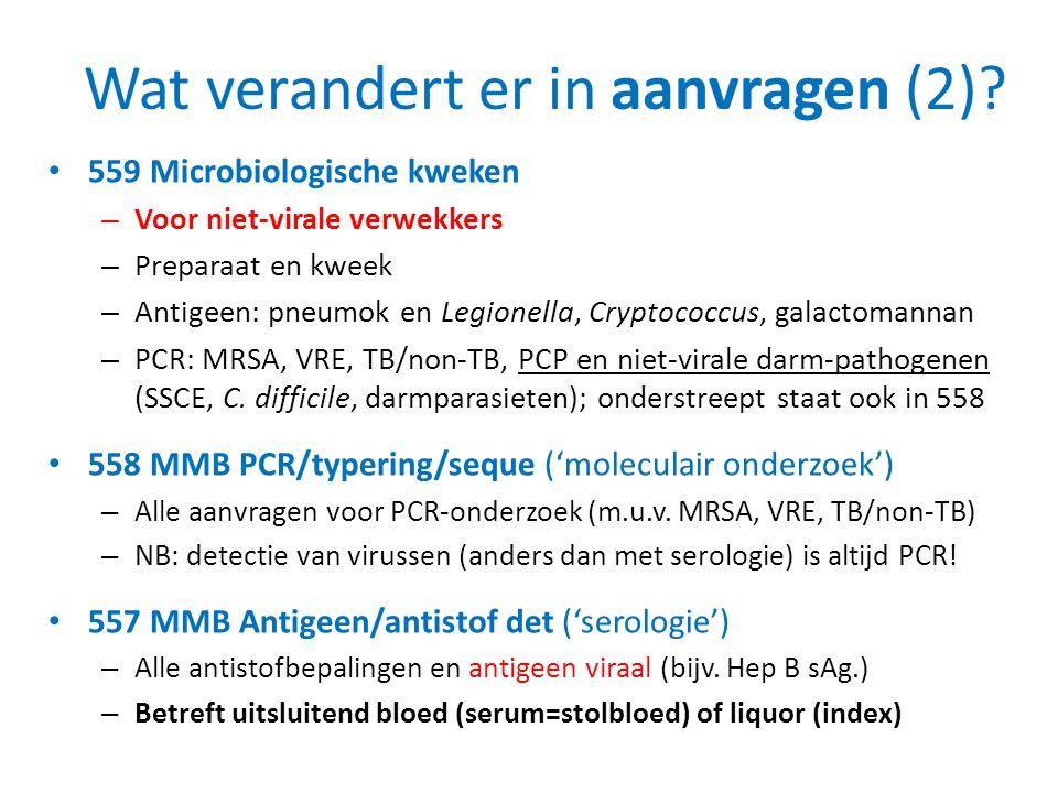 Wat verandert er in aanvragen (2)? • 559 Microbiologische kweken – Voor niet-virale verwekkers – Preparaat en kweek – Antigeen: pneumok en Legionella,