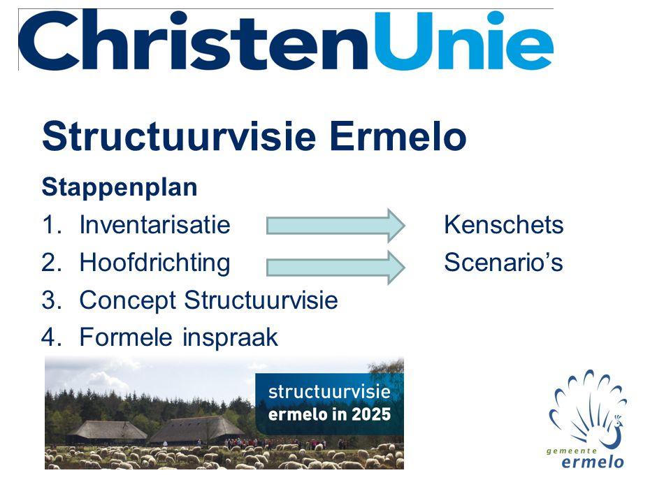 Structuurvisie Ermelo • Inspiratiebronnen (bedrijfsleven, instellingen, recreatie, centrumgebied, burgers) • Richtinggevend (werkgelegenheid, bevolkingsopbouw, woningbouw, Veluwe- massief) • Nieuw beleid