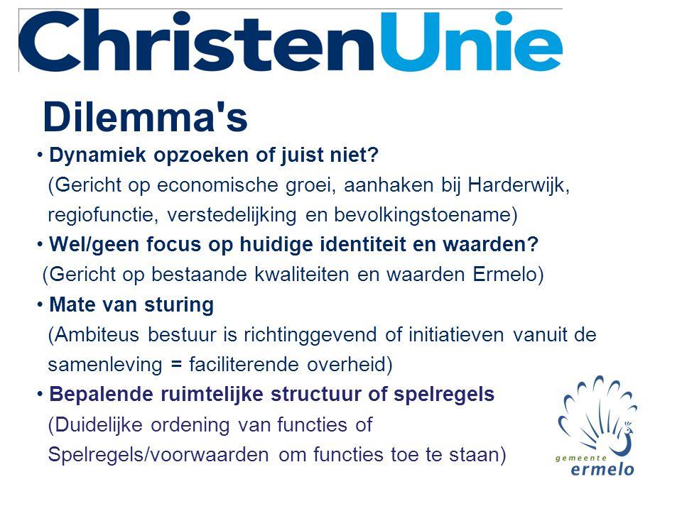 Dilemma's • Dynamiek opzoeken of juist niet? (Gericht op economische groei, aanhaken bij Harderwijk, regiofunctie, verstedelijking en bevolkingstoenam