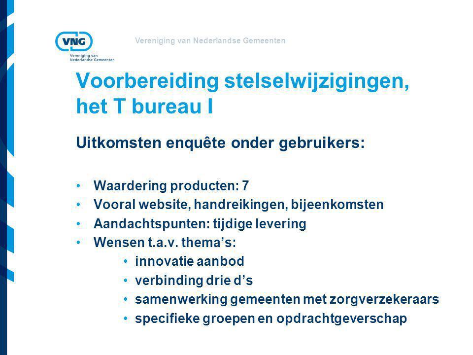 Vereniging van Nederlandse Gemeenten Voorbereiding stelselwijzigingen, het T bureau I Uitkomsten enquête onder gebruikers: •Waardering producten: 7 •V