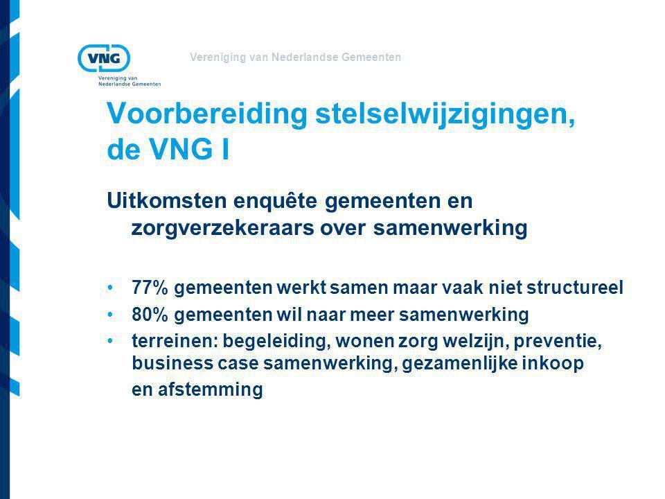 Vereniging van Nederlandse Gemeenten Voorbereiding stelselwijzigingen, de VNG I Uitkomsten enquête gemeenten en zorgverzekeraars over samenwerking •77