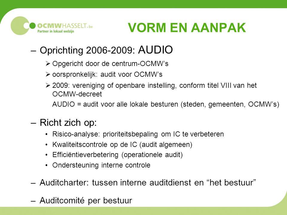 VORM EN AANPAK –Oprichting 2006-2009: AUDIO  Opgericht door de centrum-OCMW's  oorspronkelijk: audit voor OCMW's  2009: vereniging of openbare inst