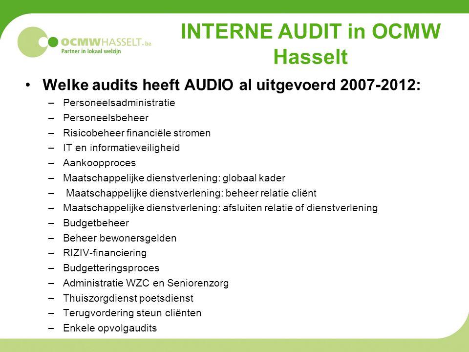 INTERNE AUDIT in OCMW Hasselt •Welke audits heeft AUDIO al uitgevoerd 2007-2012: –Personeelsadministratie –Personeelsbeheer –Risicobeheer financiële s