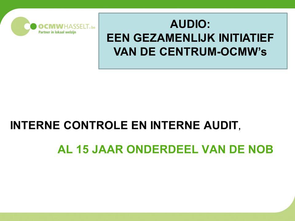 AL 15 JAAR ONDERDEEL VAN DE NOB INTERNE CONTROLE EN INTERNE AUDIT, AUDIO: EEN GEZAMENLIJK INITIATIEF VAN DE CENTRUM-OCMW's