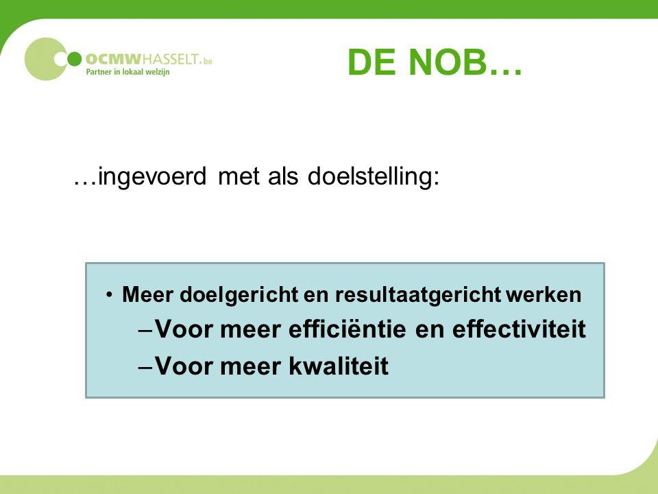 DE NOB… …ingevoerd met als doelstelling: •Meer doelgericht en resultaatgericht werken –Voor meer efficiëntie en effectiviteit –Voor meer kwaliteit