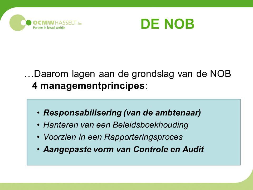 DE NOB …Daarom lagen aan de grondslag van de NOB 4 managementprincipes: •Responsabilisering (van de ambtenaar) •Hanteren van een Beleidsboekhouding •V
