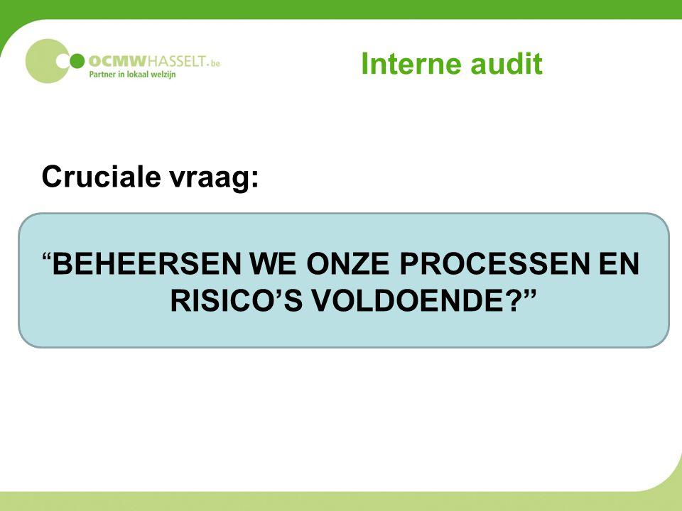 """Interne audit Cruciale vraag: """"BEHEERSEN WE ONZE PROCESSEN EN RISICO'S VOLDOENDE?"""""""