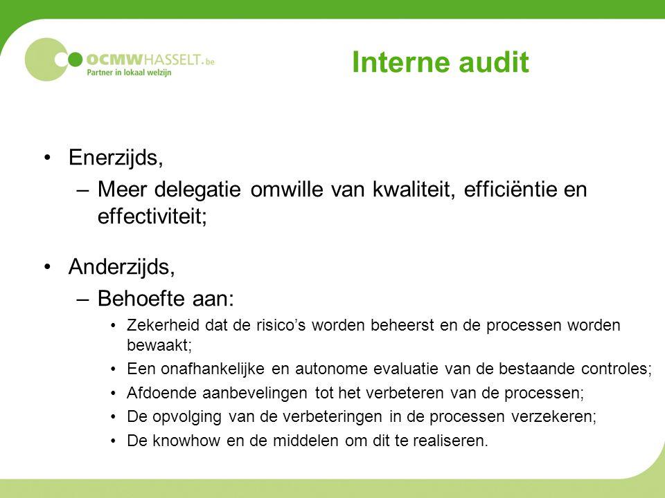 Interne audit •Enerzijds, –Meer delegatie omwille van kwaliteit, efficiëntie en effectiviteit; •Anderzijds, –Behoefte aan: •Zekerheid dat de risico's