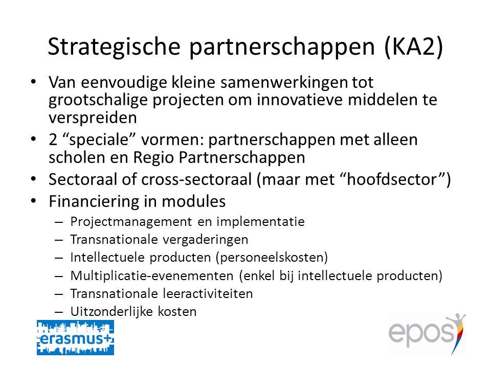 Strategische partnerschappen (KA2) • Van eenvoudige kleine samenwerkingen tot grootschalige projecten om innovatieve middelen te verspreiden • 2 speciale vormen: partnerschappen met alleen scholen en Regio Partnerschappen • Sectoraal of cross-sectoraal (maar met hoofdsector ) • Financiering in modules – Projectmanagement en implementatie – Transnationale vergaderingen – Intellectuele producten (personeelskosten) – Multiplicatie-evenementen (enkel bij intellectuele producten) – Transnationale leeractiviteiten – Uitzonderlijke kosten
