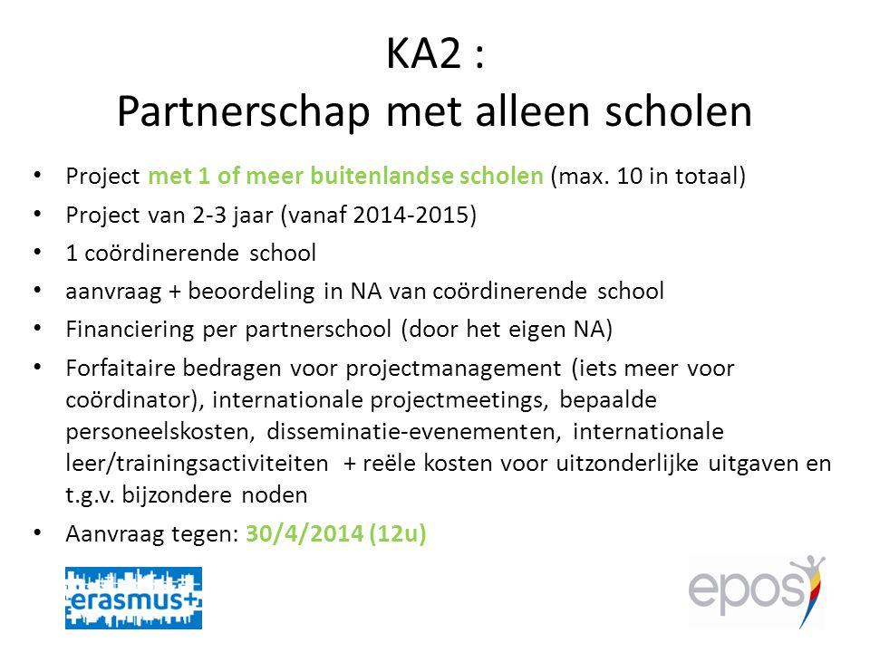 KA2 : Partnerschap met alleen scholen • Project met 1 of meer buitenlandse scholen (max.