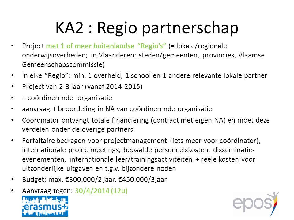 KA2 : Regio partnerschap • Project met 1 of meer buitenlandse Regio's (= lokale/regionale onderwijsoverheden; in Vlaanderen: steden/gemeenten, provincies, Vlaamse Gemeenschapscommissie) • In elke Regio : min.