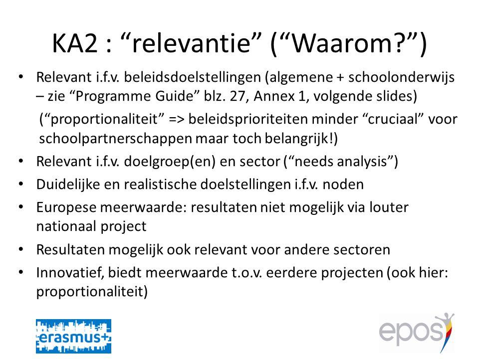 KA2 : relevantie ( Waarom? ) • Relevant i.f.v.