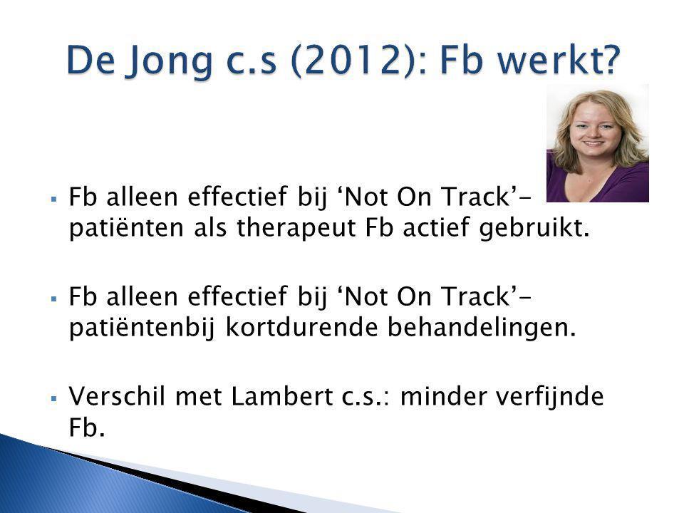  Fb alleen effectief bij 'Not On Track'- patiënten als therapeut Fb actief gebruikt.  Fb alleen effectief bij 'Not On Track'- patiëntenbij kortduren