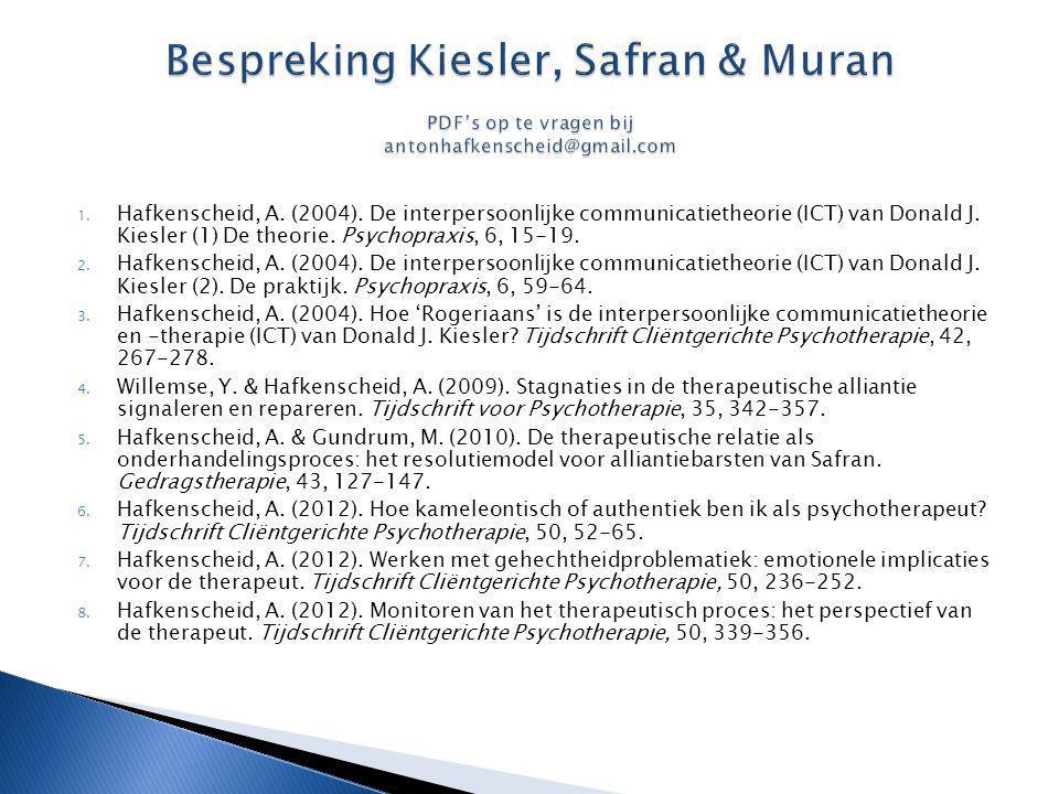 1. Hafkenscheid, A. (2004). De interpersoonlijke communicatietheorie (ICT) van Donald J. Kiesler (1) De theorie. Psychopraxis, 6, 15-19. 2. Hafkensche