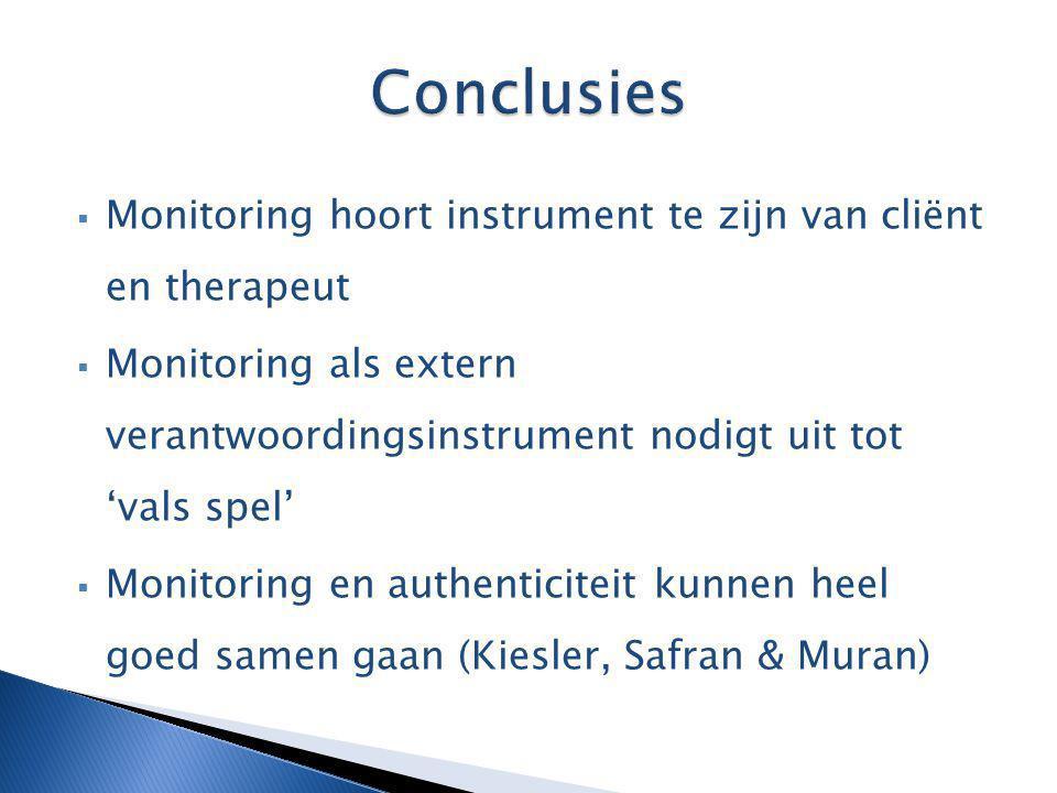  Monitoring hoort instrument te zijn van cliënt en therapeut  Monitoring als extern verantwoordingsinstrument nodigt uit tot 'vals spel'  Monitorin