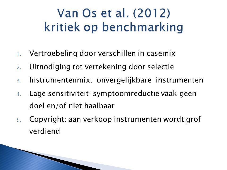1. Vertroebeling door verschillen in casemix 2. Uitnodiging tot vertekening door selectie 3. Instrumentenmix: onvergelijkbare instrumenten 4. Lage sen