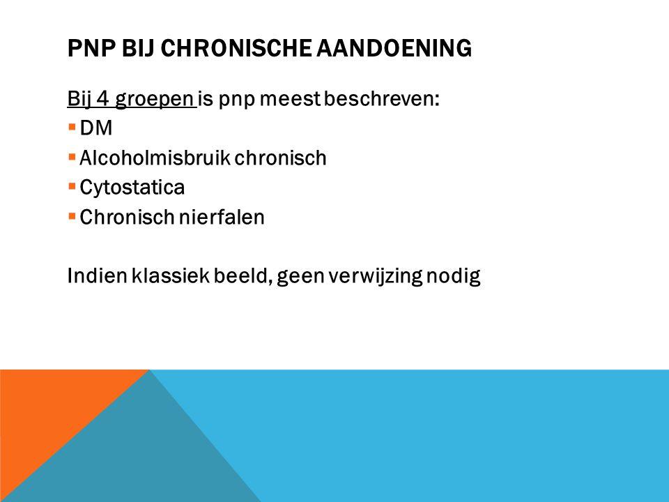 PNP BIJ CHRONISCHE AANDOENING Bij 4 groepen is pnp meest beschreven:  DM  Alcoholmisbruik chronisch  Cytostatica  Chronisch nierfalen Indien klass