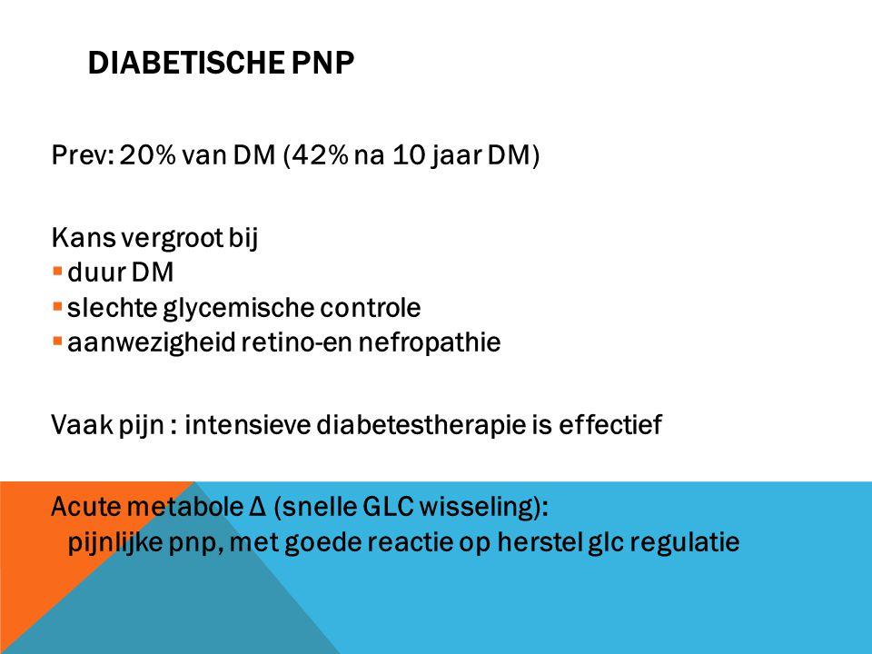 DIABETISCHE PNP Prev: 20% van DM (42% na 10 jaar DM) Kans vergroot bij  duur DM  slechte glycemische controle  aanwezigheid retino-en nefropathie V