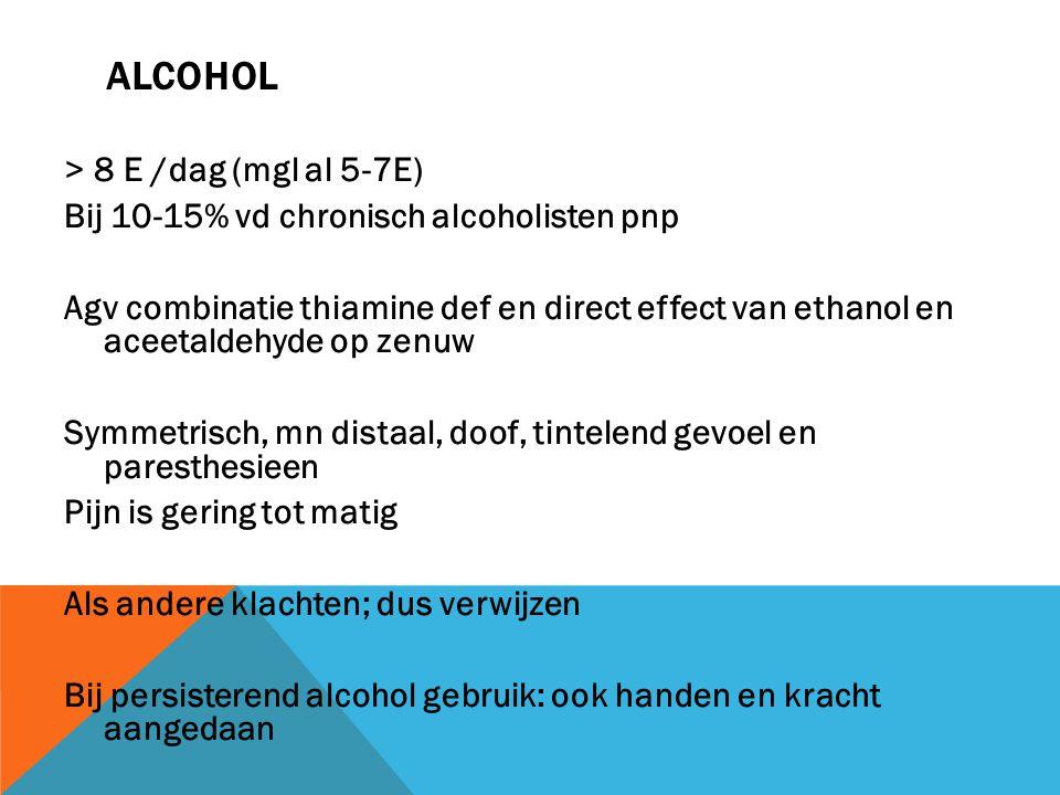 ALCOHOL > 8 E /dag (mgl al 5-7E) Bij 10-15% vd chronisch alcoholisten pnp Agv combinatie thiamine def en direct effect van ethanol en aceetaldehyde op