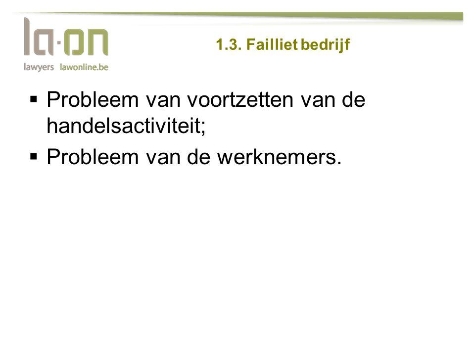 1.3. Failliet bedrijf  Probleem van voortzetten van de handelsactiviteit;  Probleem van de werknemers.