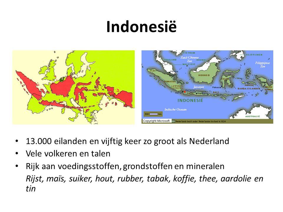 Indonesië • 13.000 eilanden en vijftig keer zo groot als Nederland • Vele volkeren en talen • Rijk aan voedingsstoffen, grondstoffen en mineralen Rijs