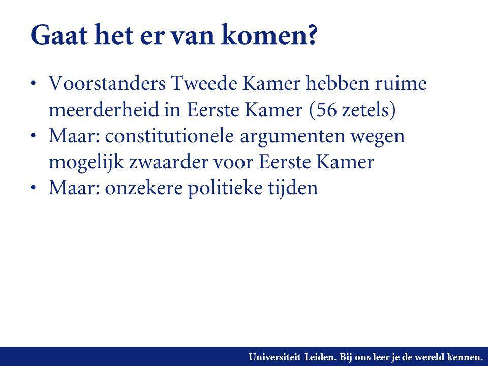 Universiteit Leiden. Bij ons leer je de wereld kennen. Gaat het er van komen? • Voorstanders Tweede Kamer hebben ruime meerderheid in Eerste Kamer (56
