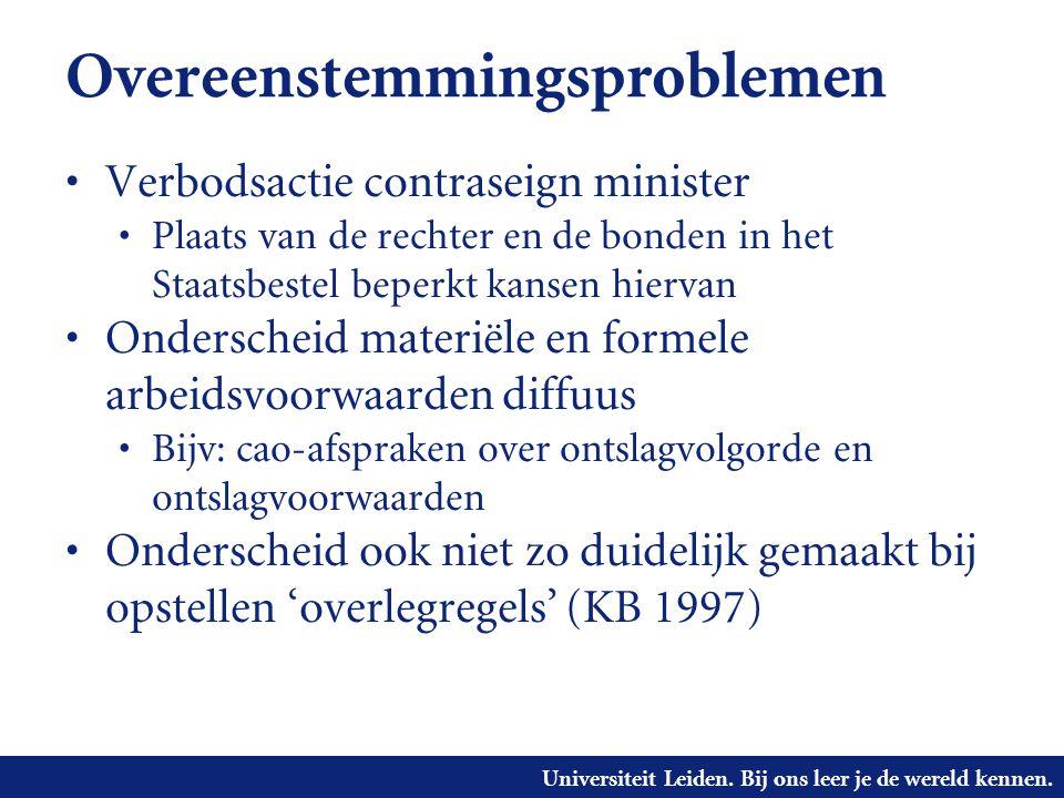 Universiteit Leiden. Bij ons leer je de wereld kennen. Overeenstemmingsproblemen • Verbodsactie contraseign minister • Plaats van de rechter en de bon