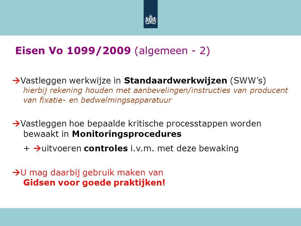 Eisen Vo 1099/2009 (algemeen - 2)  Vastleggen werkwijze in Standaardwerkwijzen (SWW's) hierbij rekening houden met aanbevelingen/instructies van producent van fixatie- en bedwelmingsapparatuur  Vastleggen hoe bepaalde kritische processtappen worden bewaakt in Monitoringsprocedures +  uitvoeren controles i.v.m.